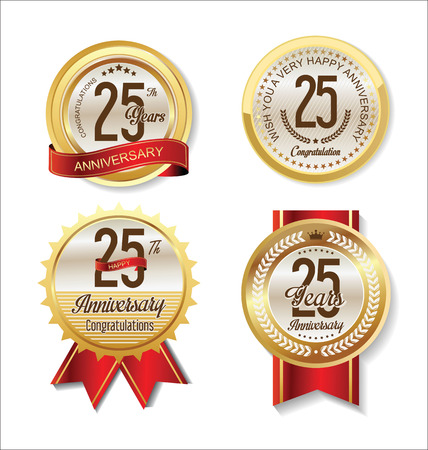 25: Anniversary Retro vintage golden labels collection 25 years Illustration