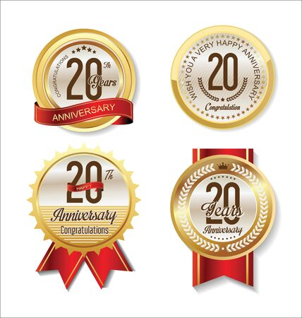 20: Anniversary Retro vintage golden labels collection 20 years