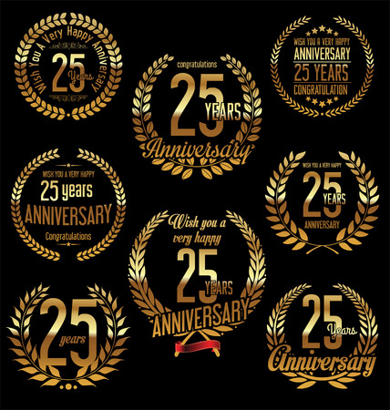 25 years old: Anniversary golden laurel wreath retro vintage design 25 years