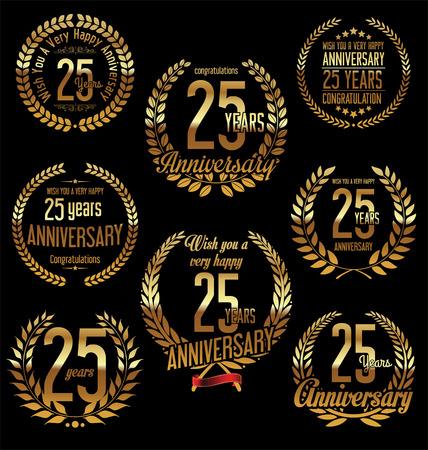 25: Anniversary golden laurel wreath retro vintage design 25 years