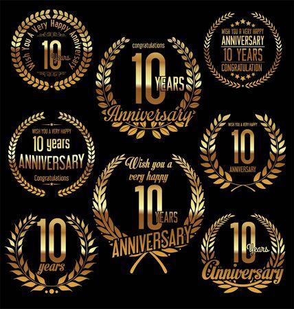golden laurel wreath 10 years: Anniversary golden laurel wreath retro vintage design 10 years