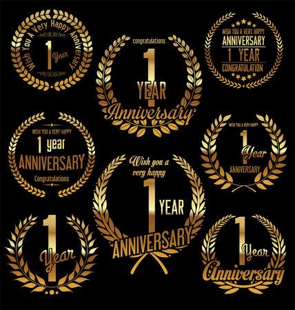 one year old: Anniversary golden laurel wreath retro vintage design 1 year