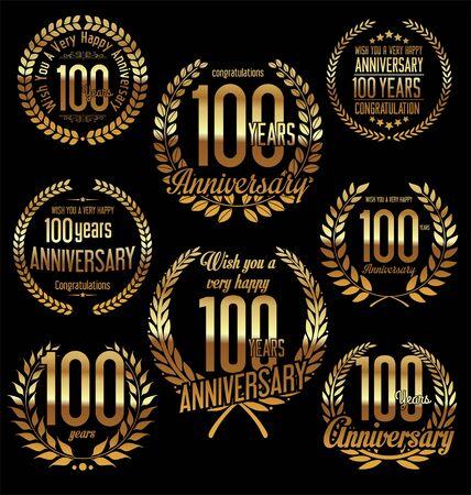 hundred: Anniversary golden laurel wreath retro vintage design 100 years Illustration