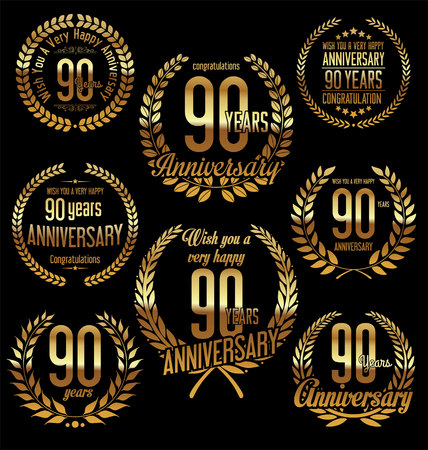 90 years: Anniversary golden laurel wreath retro vintage design 90 years Illustration