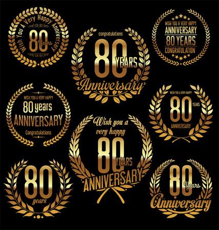 80 years: Anniversary golden laurel wreath retro vintage design 80 years