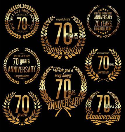 70: Anniversary golden laurel wreath retro vintage design 70 years Illustration