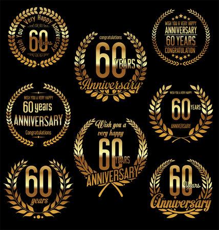 60 years: Anniversary golden laurel wreath retro vintage design 60 years