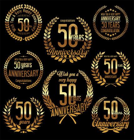 Anniversario, dorato, alloro, corona, retro, annata, disegno, 50, anni Archivio Fotografico - 52984290