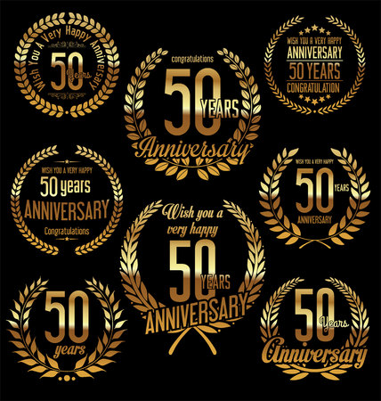 Anniversary golden laurel wreath retro vintage design 50 years Çizim