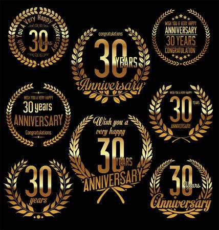 30 years: Anniversary golden laurel wreath retro vintage design 30 years