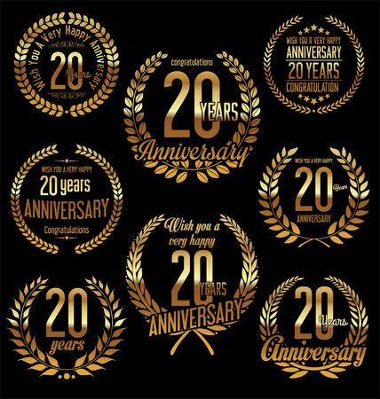 Anniversary golden laurel wreath retro vintage design 20 years Ilustração Vetorial