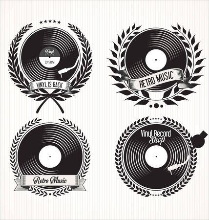 turn table: Vinyl record shop retro labels and laurel wreaths Illustration