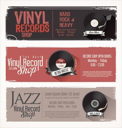 retro grunge: Vinyl record shop retro grunge banner