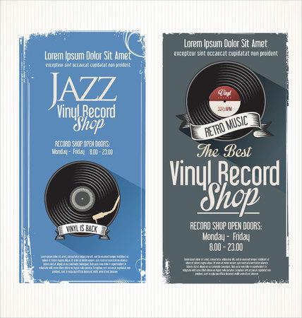 turn table: Vinyl record shop retro grunge banner