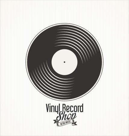 ビニール レコード店レトロなグランジ バナー
