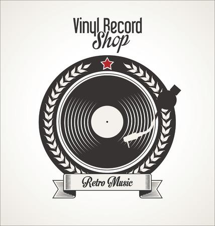 vinyl disk player: Vinyl record shop retro grunge banner