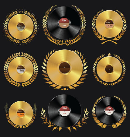 record: Vinyl record shop badges collection