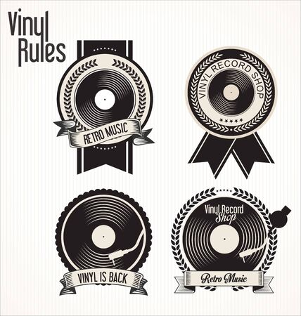 turn on: Vinyl record shop badges collection