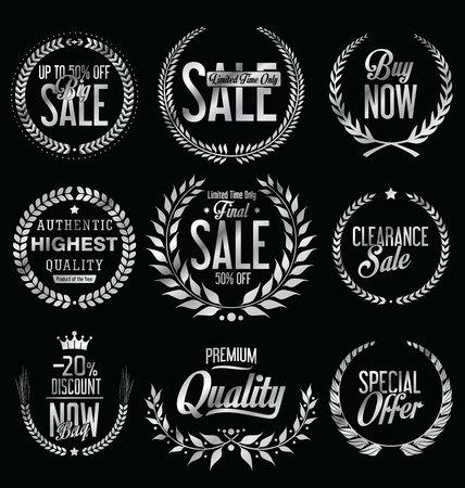 premium: Sale Retro vintage laurel wreath labels
