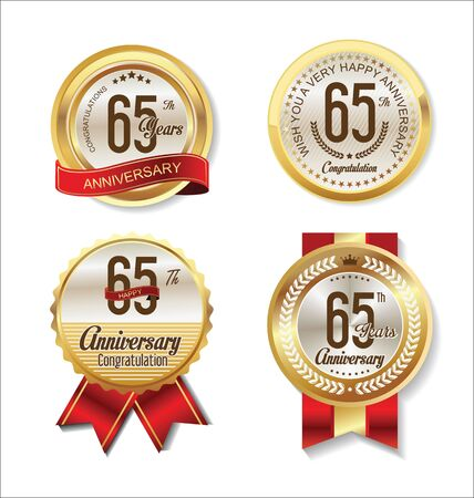 65: Anniversary Retro vintage golden labels collection 65 years