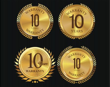 button: 10 years warranty golden labels collection