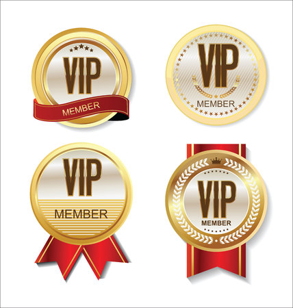 Vip Mitglied Abzeichen Sammlung Vektorgrafik