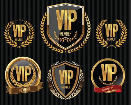 only members: Vip member golden badge collection Illustration