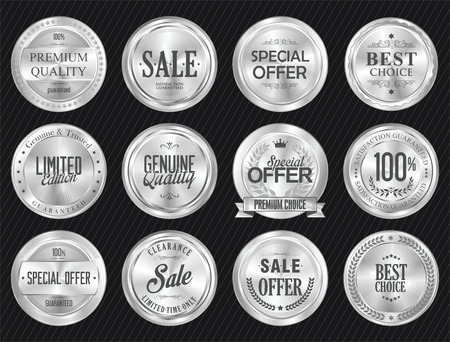 Retro vintage sale silver badge and labels collection