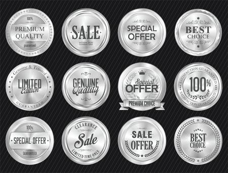Retro vintage verkoop zilveren badge en etiketten collectie Stock Illustratie