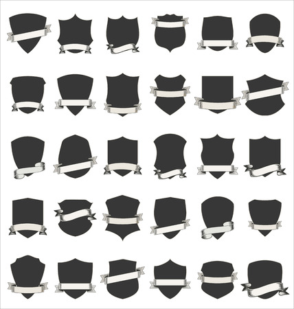 honor guard: Shields and stylish retro ribbon collection isolated on white background