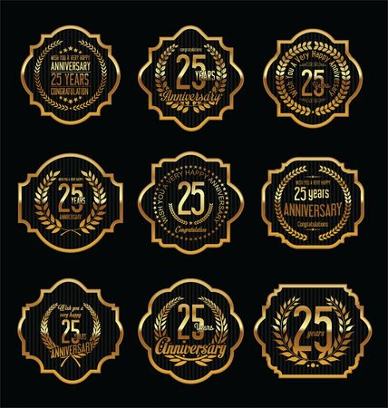 25: Golden Anniversary Labels with retro vintage styled design 25 years Illustration