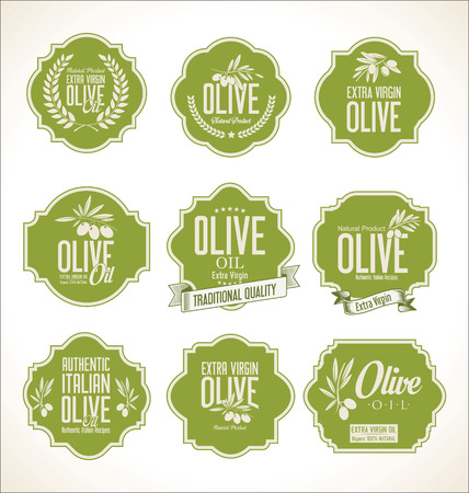 fresh salad: Collections of olive oil labels