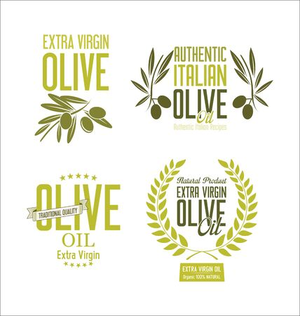 macro leaf: Collections of olive oil labels