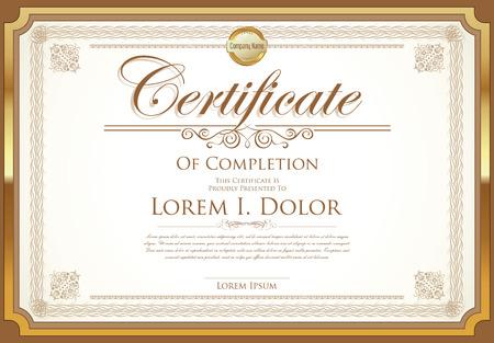 certificate template: Certificate or diploma template retro vintage design Illustration