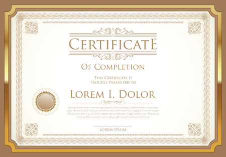 qualification: Certificate or diploma template retro vintage design Illustration
