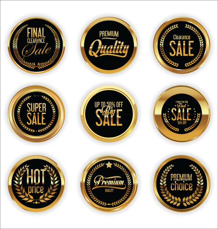 gold leaf: Golden badges and labels with laurel wreath collection