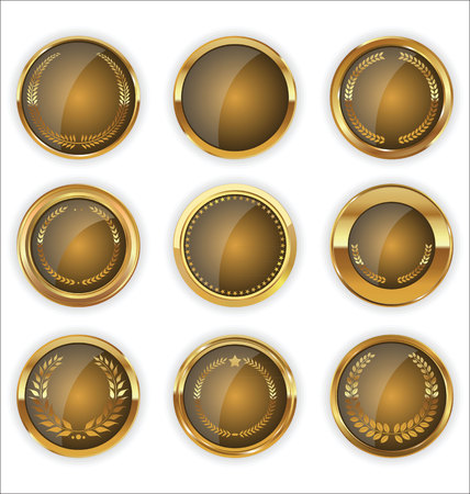wreath collection: Golden badges and labels with laurel wreath collection