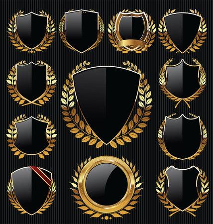 Goldene Schilde und Lorbeer-Etiketten Sammlung