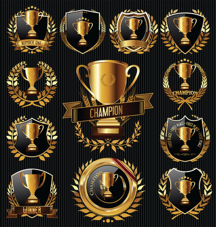 star award: Trophy and awards golden badges and labels collection