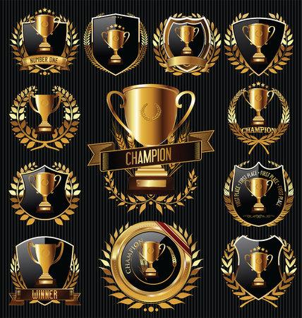 Trophy i nagrody złote odznaki i etykiety kolekcji Ilustracje wektorowe