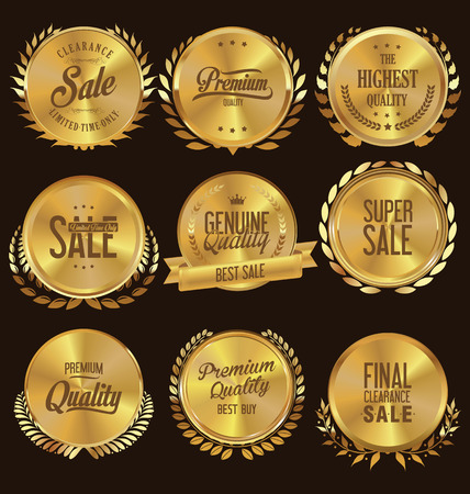 wreath collection: Quality golden medallion with laurel wreath collection Illustration