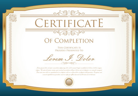blue border: Certificate or diploma template