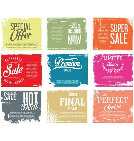 scrap: Premium quality retro vintage grunge labels collection
