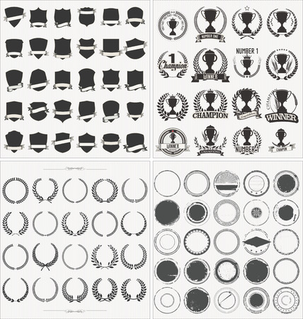 Set of empty retro vintage frames laurels badges shields throphy and stamps