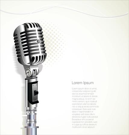 Retro vintage microfoon design achtergrond Stock Illustratie