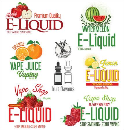 liquido: sabor líquido cigarrillo electrónico colección de diseño retro Vectores