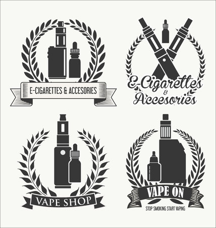 Vape shop laurel wreaths retro collection Ilustração