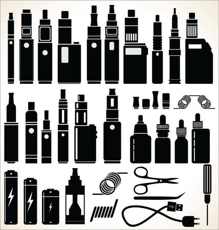 Elementen voor Vapor bar en vape winkel elektronische sigaret collectie Stock Illustratie