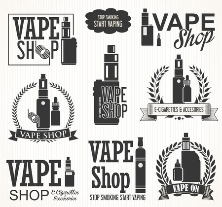 증기 바 및 vape 상점 전자 담배에 대 한 요소 일러스트
