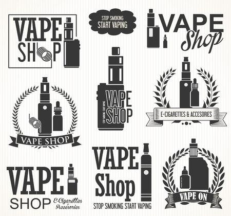 Elementi per la barra di vapore e un negozio di Vape sigaretta elettronica Archivio Fotografico - 56673351